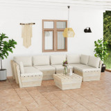 VidaXL Set mobilier grădină din paleți, 7 piese, cu perne, lemn molid