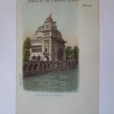 Carte postala necir.Paris-Expozitia Universala 1900,reclama ciocolata l'Abbaye