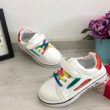 Adidasi albi rosii cu sireturi colorate pantofi sport fete baieti 25 26 27