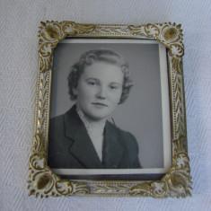 Impresionanta rama din alama cu fotografie portret, anii 1940, Aluminiu, Dreptunghiular