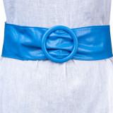 Curea albastra din piele ecologica cu latime de 7 cm, catarama rotunda