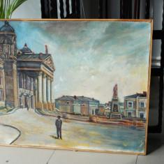 Tablou pictura ulei panza peisaj Teatrul National din IASI, Peisaje, Realism