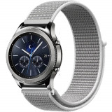 Curea ceas Smartwatch Samsung Gear S2, iUni 20 mm Soft Nylon Sport, White Gray
