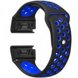 Curea ceas Smartwatch Garmin Fenix 3 / Fenix 5X, 26 mm iUni Silicon Sport Negru-Albastru