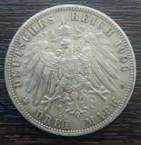 (A718) MONEDA DIN ARGINT GERMANIA, PRUSIA - 3 MARK 1908, LIT. A, WILHELM II, Europa
