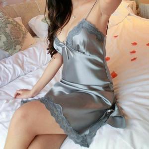 Rochita de noapte/pijama sexy din satin, pentru dama-GRI,L