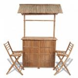 VidaXL Set mobilier bistro, 3 piese, lemn de bambus