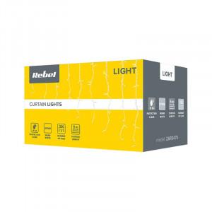 Perdea luminoasa Rebel, 650 LED-uri, lungime 10 m, IP 44, Alb Rece
