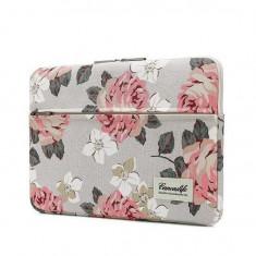 Husa Impermeabila Universala MacBook AirPro 13 Inch Canvaslife Sleeve WhiteRose