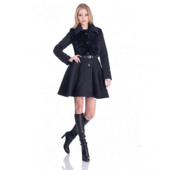 Palton elegant scurt dama aplicatie blanita negru