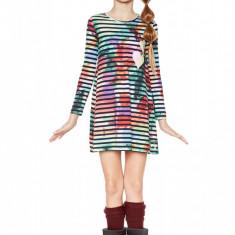 Rochie fete,  evazata cu dungi multicolore Black, Desigual Marimea 13-14 ani, Alta, Multicolor