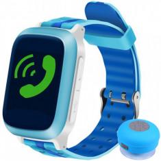 Ceas Smartwatch cu GPS Copii iUni Kid18, Telefon incorporat, Alarma SOS, 1.44 Inch, Blue + Boxa Cadou