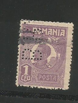 No(08)timbre-Romania 1919-L.P.73-UZUALE FERDINAND-PERFIN  B.R.-1 LEu foto