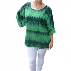 Bluza dama Diana ,croi lejer cu imprimeu painted ,nuanta de verde, 50, 52, 54, 56