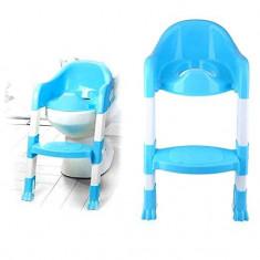 Reductor Copii Pliabil pentru WC Fara Olita, cu Scarita, Albastru