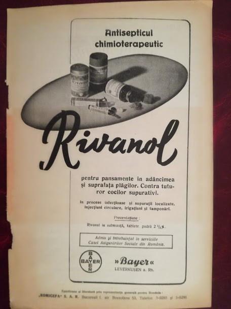 1937, Reclamă Rivanol, propagandă medicală intebelică, flyer Bayer, Romigefa SAR
