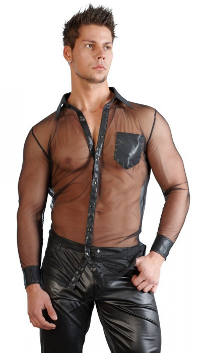 Camasa Neagra Transparenta Barbati
