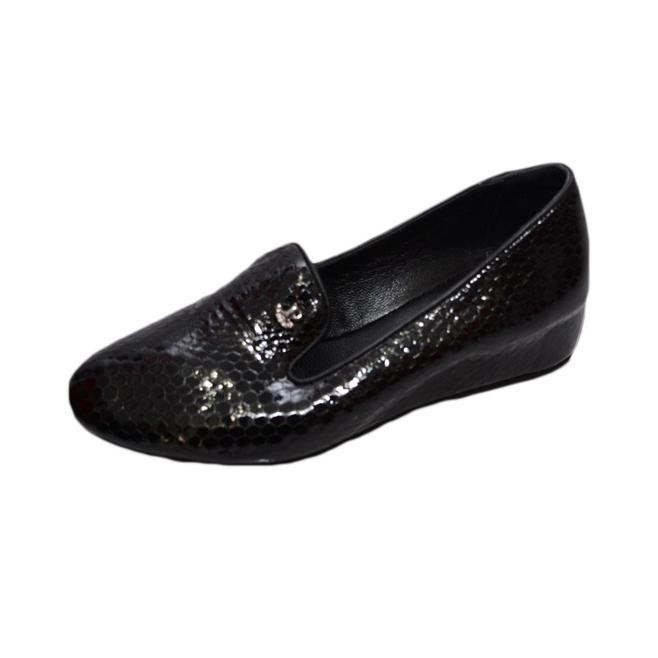 Pantof casual, de culoare neagra, cu talpa tip pana mica