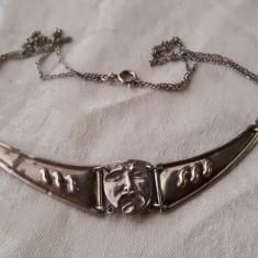 COLIER argint MASCA VENETIANA vintage SPLENDID de efect VECHI patina MINUNATA