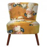 Scaun cu spatar tapiterie material textil si picioare din lemn 51 cm x 61 cm x 77 h Elegant DecoLux, Clayre & Eef