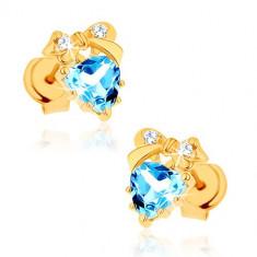 Cumpara ieftin Cercei din aur 375 - inimă topaz albastru cu fundiţă