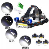 Lanterna Frontala 2LED Mobile + COB LED, 3W Acumulatori 18650 SWD4