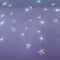 Perdea luminoasa tip turturi cu stele 100 LED uri albe lumina rece cablu transparent WELL