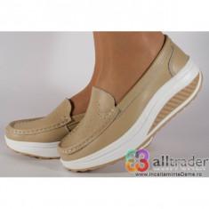 Pantofi bej talpa convexa piele naturala dama/dame/femei (cod AC020-33)