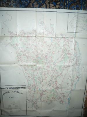 Harta mare a Judetului VASLUI 1985 RSR , scara 1:100 000 ,dim.= 131x109 cm foto