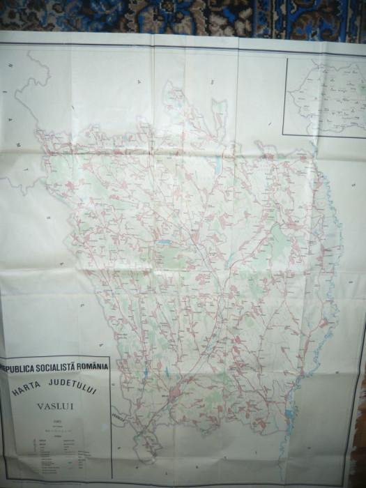 Harta mare a Judetului VASLUI 1985 RSR , scara 1:100 000 ,dim.= 131x109 cm