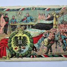 Carte Postala Militara, Germania 1905-1918: Caricaturi - Recrutare (cu defect)