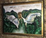 Tablou abstract Pereche de pasari Tablouri Feng Shui pictat foita aur original, Portrete, Ulei