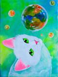 """Tablou pictura pisica """"Joaca"""", Animale, Acrilic, Altul"""