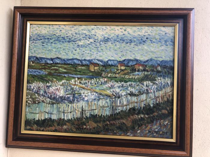 Tablou,pictura in ulei pe panza,peisaj ,tehnica spaclu,semnat W.Feldt