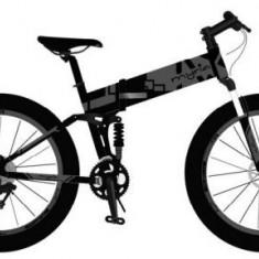 Bicicleta electrica pliabila Myria BICMY7018GR, 21 viteze, Roti 26inch, Viteza maxima 25 Km/h, Autonomie 25 km, Motor 350 W (Negru/Gri)