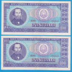(1) SET 2 BANCNOTE ROMANIA - 100 LEI 1966, STARE FOARTE BUNA, SERII CONSECUTIVE