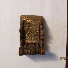 PVM - Suport vechi lemn pentru candela, cu iconita