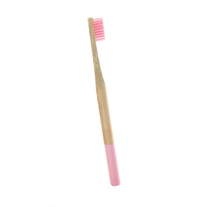 Periuta de dinti clasica, maner rotund, culoare roz, model PC03