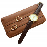 Cumpara ieftin Pachet portofel elegant de dama cu fermoar, maro + ceas elegant de dama slim, model clasic, curea maro