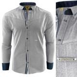 Camasa pentru barbati slim fit gri deschis casual cu guler sedna grammaton