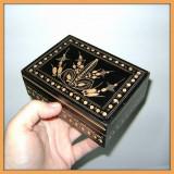 Caseta neagra pentru bijuterii_lemn sculptat_artizanat