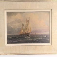 Tablou vechi,litografie cu tema maritima,corabie pe mare