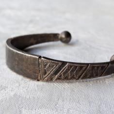 BRATARA argint TRIBALA TUAREGA vintage MASIVA reglabila VECHE patina MINUNATA