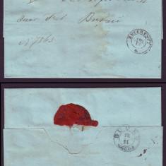 1863 Romania, Scrisoare veche BUCURESCI - BUZAU 6 stampila agrafa BUDEU, sigiliu