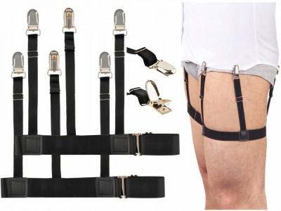 Set suspensor - bretele barbati ajustabile pentru camasa, maiou sau tricou, culoare Negru foto