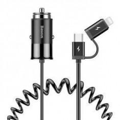Incarcator Auto Universal 2 in 1 USB 48A Tip C Cablu Lightning Baseus Argintiu Argintiu