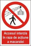 Indicator Accesul interzis in raza de actiune a macaralei - Semn Protectia Muncii