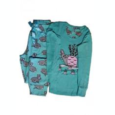 Pijama de Dama din Bumbac Culoare Turcoaz