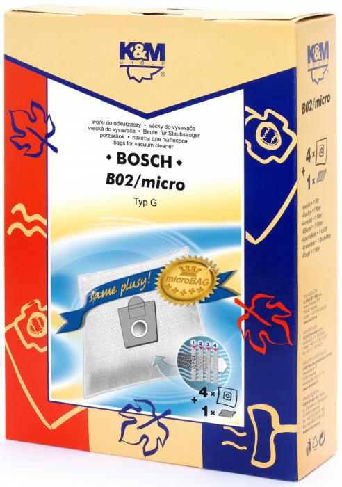 Sac aspirator pentru Bosch Siemens typ E,D,G, sintetic, 4 saci + 1 filtru, KM