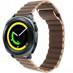 Curea piele Smartwatch Samsung Gear S3, iUni 22 mm Brown Leather Loop